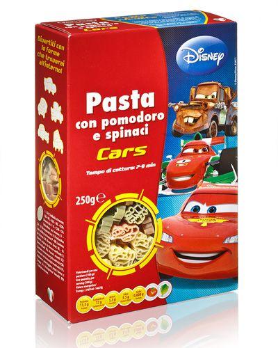 Детская паста Тачки Disney со шпинатом и томатами 250г фигурные макароны, Dalla Costa