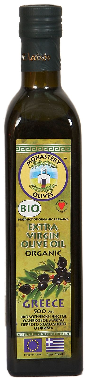 Оливковое масло БИО, Extra Virgin, 0,5л первый холодный отжим, Монастырские оливы
