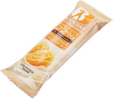 Батончик протеиновый медовая курага в йогурте 50г без сахара, протеин 22%, Bodybar