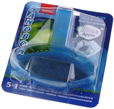 Очиститель для унитаза с ароматом яблока подвесной, Sanobon, синяя