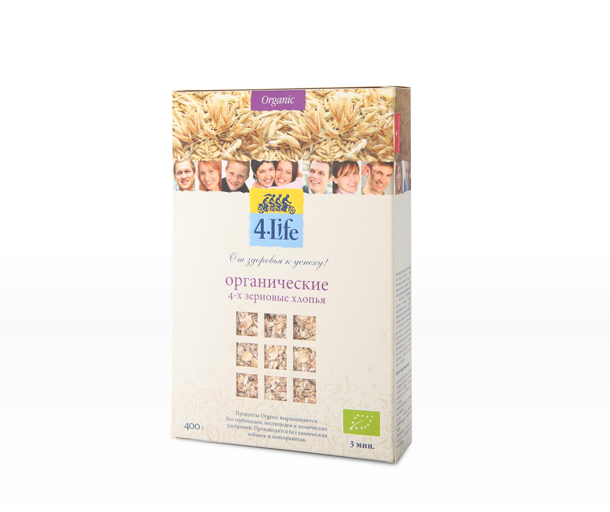 Хлопья 4-х зерновые, 400г из цельного зерна, органические, 4 Life