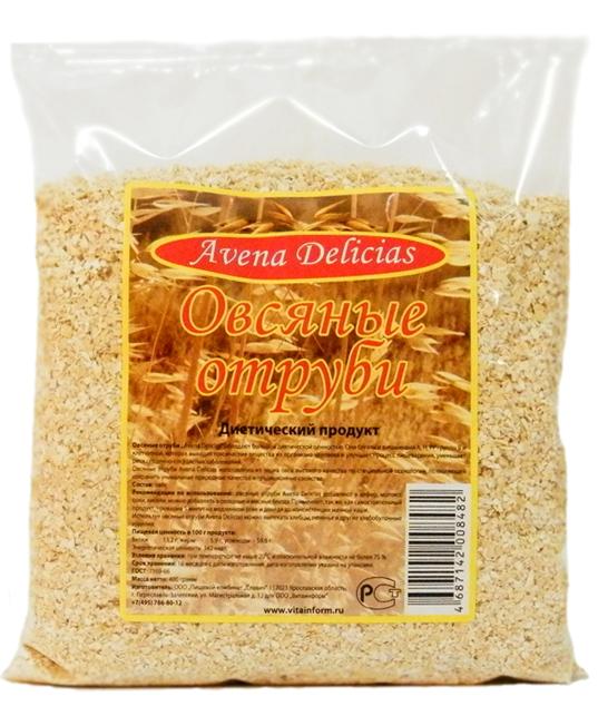 Отруби овсяные, 400г Avena Delicias, Россия