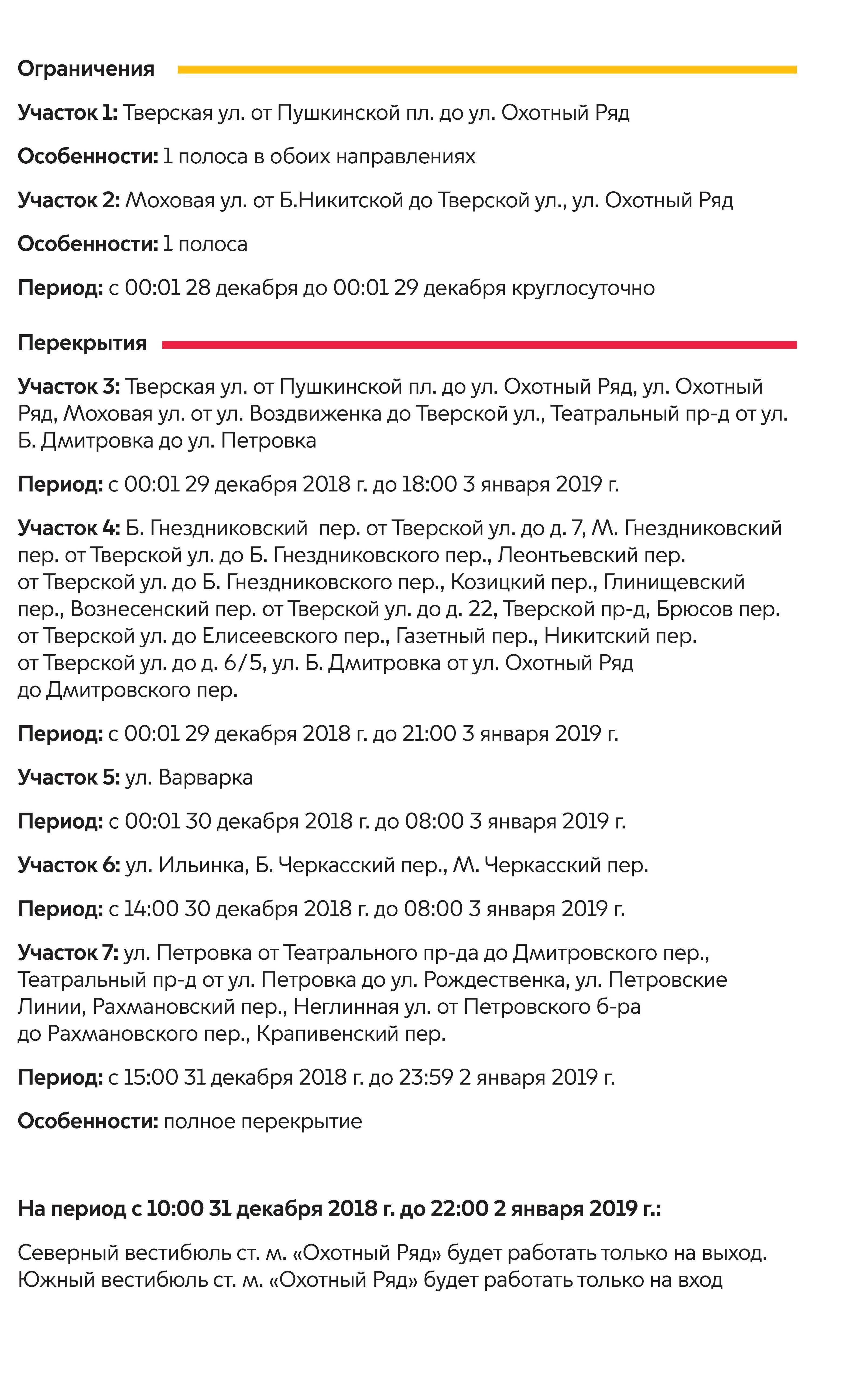 Схема перекрытия дорог в центре Москве в декабре 2019 года