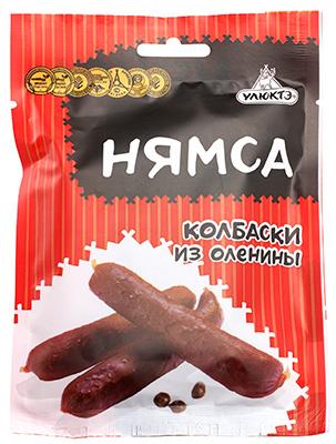 Колбаски из оленины 60г закуска сырокопченая